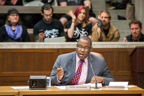 City Councilor Tito Jackson spoke during a transportation hearing at City Hall in May.